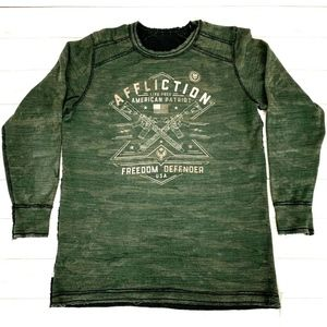 Affliction Mens Reversible Distressed Thermal XXL